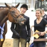 """It was all smiles for these three after the winner of the Senior Hunter Under Saddle was announced. """"I was speechless, my eyes filled up with tears and all I could do was bend down and give Bob B a big hug,"""" Dasi said. """"Today is a day I will never forget."""""""